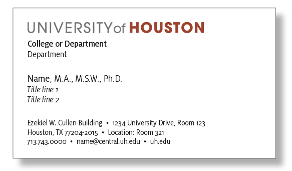 Business card university of houston along with the order form see link below please include the following information with your business card order colourmoves