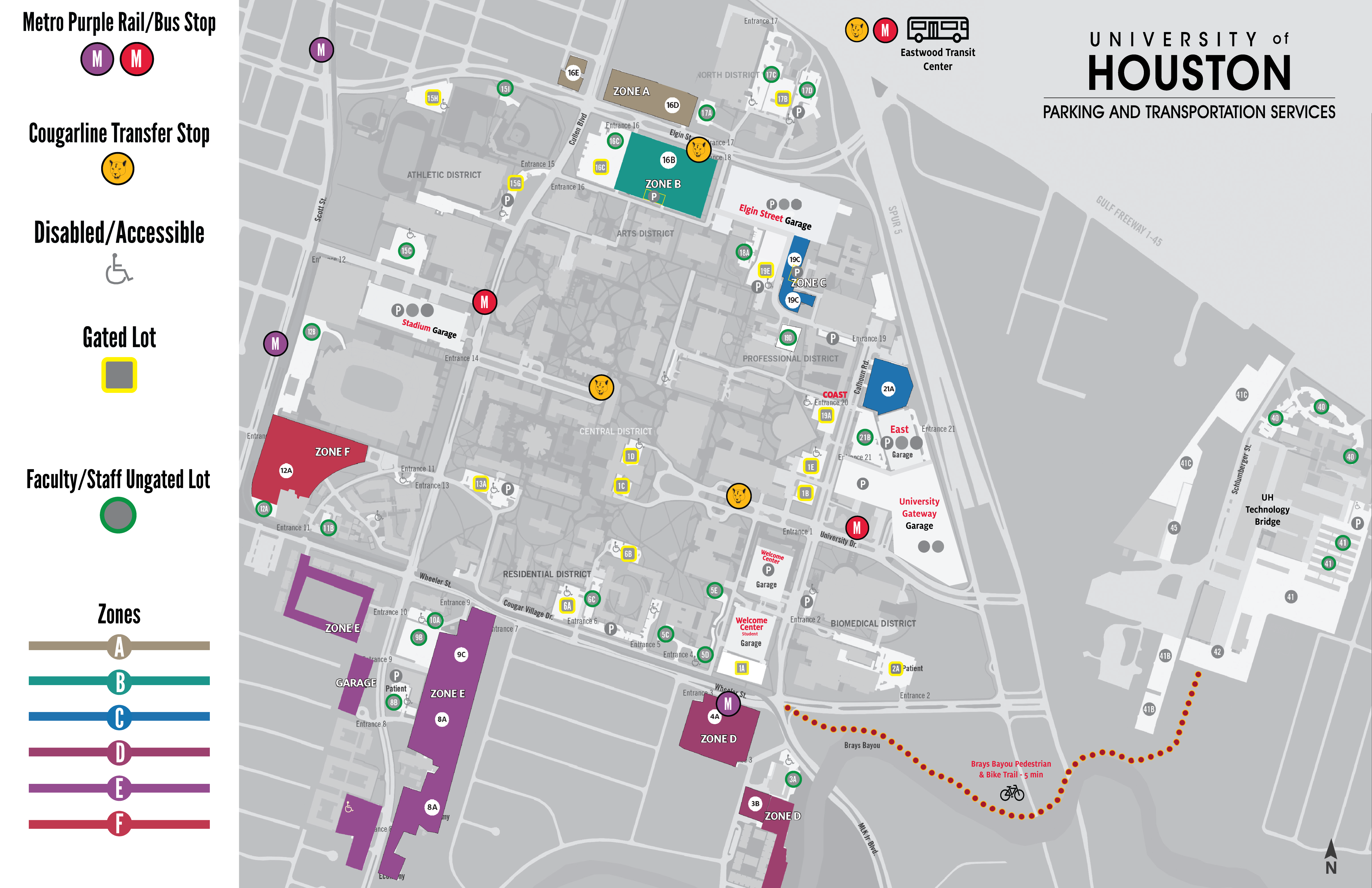 University Of Houston Parking Map Parking Maps   University of Houston University Of Houston Parking Map
