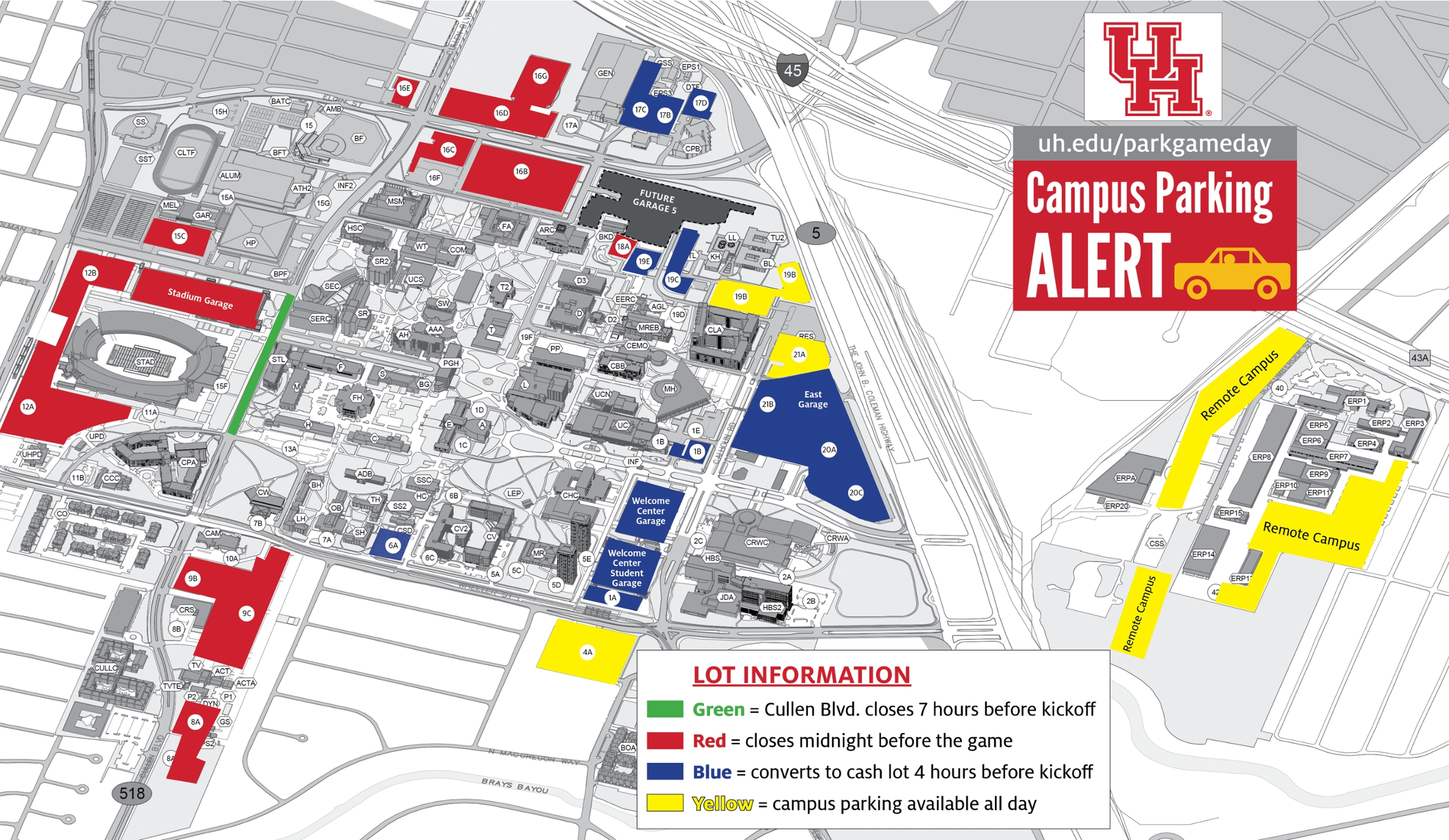 University Of Houston Parking Map Campus Parking on Game Day   University of Houston University Of Houston Parking Map