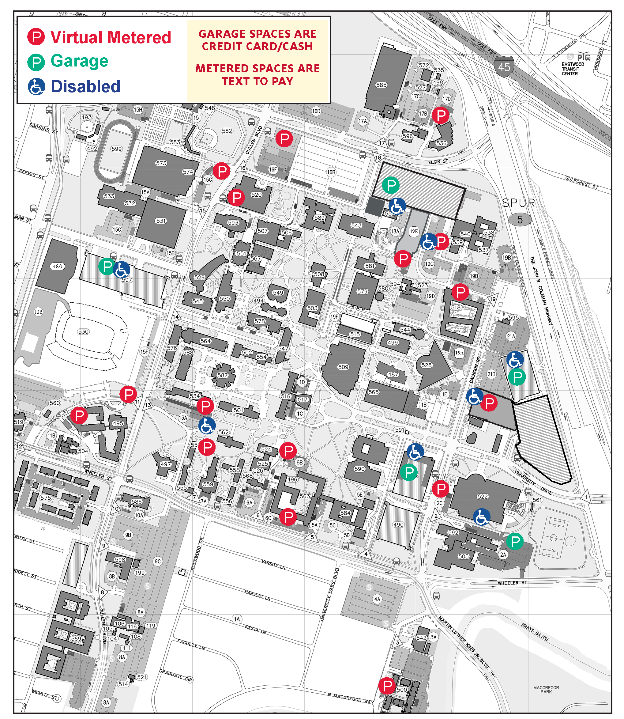 u of h campus map Parking Maps University Of Houston