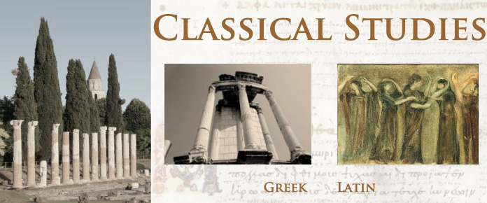 A photo of classical studies through a slide