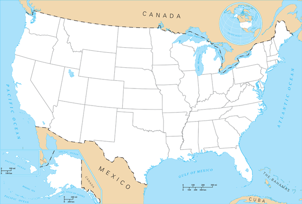 US States Bordering The Most Other States WorldAtlascom Map Of - Us canada outline map