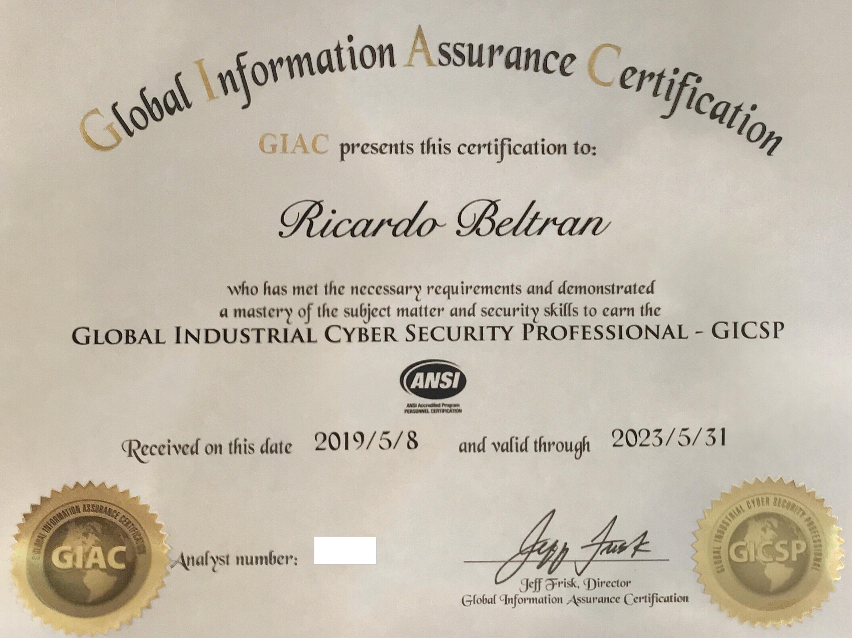 Ricardo Beltran receives prestigious global certification