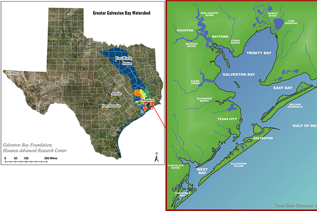 Map of the great Galveston Bay watershed.